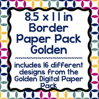 Digital Paper-8.5 x 11 Border Frame Paper Golden