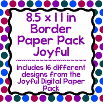 Digital Paper-8.5 x 11 Border Frame Paper Joyful