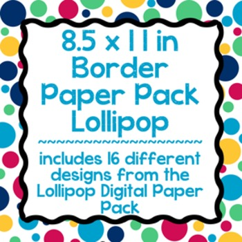 Digital Paper-8.5 x 11 Border Frame Paper Lollipop