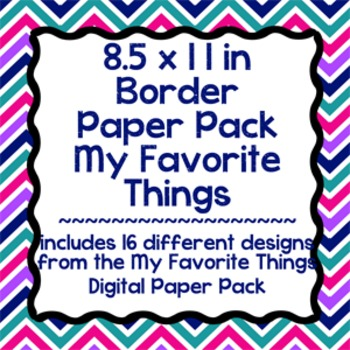 Digital Paper-8.5 x 11 Border Frame Paper My Favorite Things