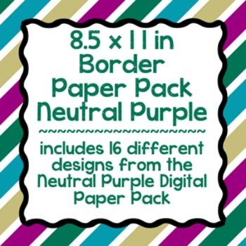 Digital Paper-8.5 x 11 Border Frame Paper Neutral Purple
