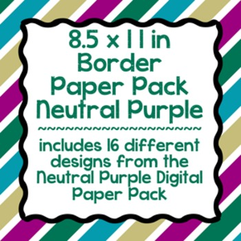 Digital Paper-8.5 x 11 Border Frame Paper Neutral Purple