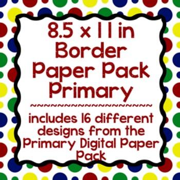 Digital Paper-8.5 x 11 Border Frame Paper Primary