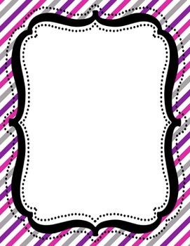 Digital Paper-8.5 x 11 Border Frame Paper Purple Pink Pizazz