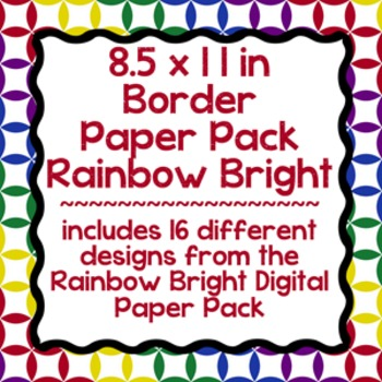 Digital Paper-8.5 x 11 Border Frame Paper Rainbow Bright