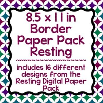 Digital Paper-8.5 x 11 Border Frame Paper Resting