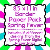 Digital Paper-8.5 x 11 Border Frame Paper Spring Fever