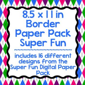 Digital Paper-8.5 x 11 Border Frame Paper Super Fun
