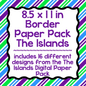 Digital Paper-8.5 x 11 Border Frame Paper The Islands