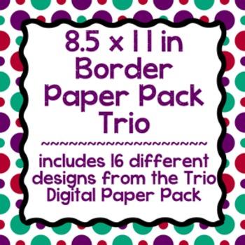 Digital Paper-8.5 x 11 Border Frame Paper Trio
