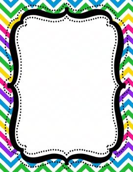 Digital Paper-8.5 x 11 Border Frame Paper Unicorn Rainbow