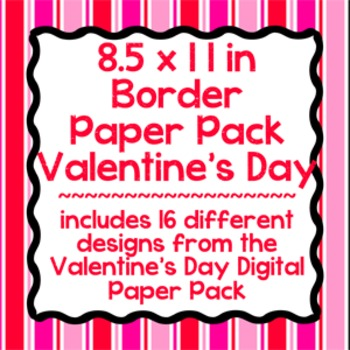 Digital Paper-8.5 x 11 Border Frame Paper Valentine's Day