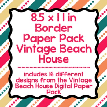 Digital Paper-8.5 x 11 Border Frame Paper Vintage Beach