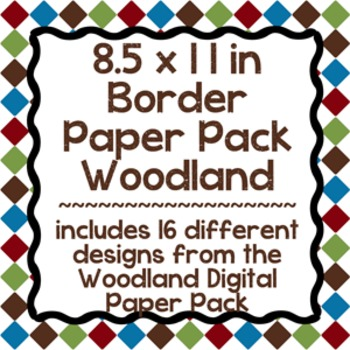Digital Paper-8.5 x 11 Border Frame Paper Woodland