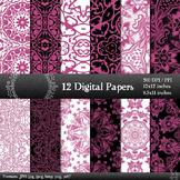 Digital Paper A4 Embellishment Making Mandala Texture Set Textile Album Card Art