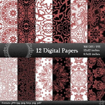 Digital Paper A4 Journal Abstract Layout Floral Printable Style Paper Pack Henna
