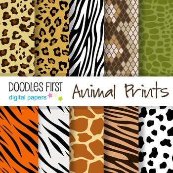 Digital Paper - Animal Prints great for Classroom art projects