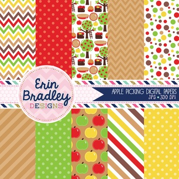 Digital Paper - Apples Chevron Polka Dots Stripes Digital Background Patterns