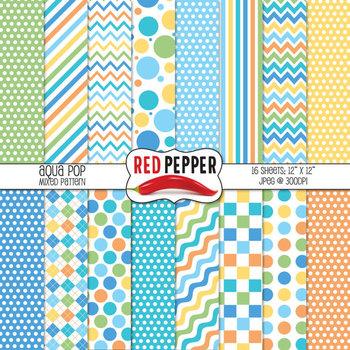 Digital Paper / Patterns - Aqua Pop
