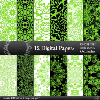 Digital Paper Art Instant Download Floral Abstract A4 Vintage Printable Book Jpg