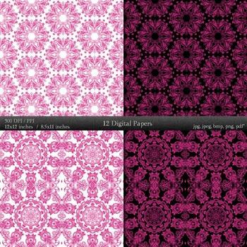 Digital Paper Art Kit Digital Set Corner Clip Pattern Cover Embroidery Retro A4