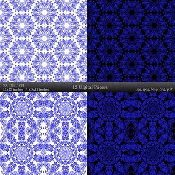 Digital Paper Art Premade Ornate Mandala Damask Background Pattern Printable A4