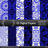 Digital Paper Art Premade Ornate Mandala Damask Background