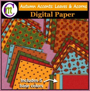Digital Paper ♦ Autumn Accents ♦ Leaves & Acorns