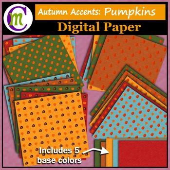 Autumn Digital Paper Pumpkins and Acorns