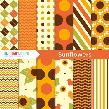 Digital Paper - Autumn / Fall / Thanksgiving / Sunflowers