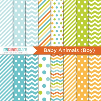 Digital Paper - Baby Animals (boy)