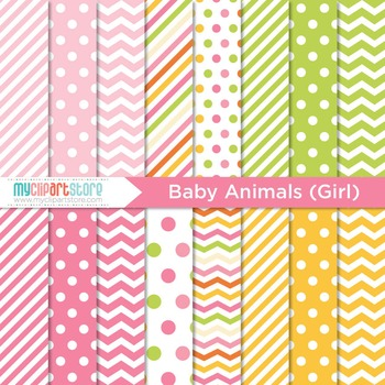 Digital Paper - Baby Animals (Girl)
