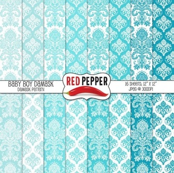 Free Digital Paper - Baby Boy Damask
