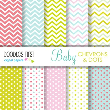 Digital Paper - Baby Chevron and Dots great for Classroom art projects