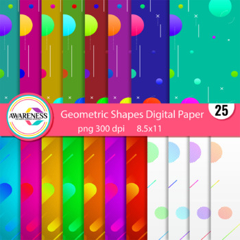 Geometric shapes Digital Paper [Scrapbook- Background]