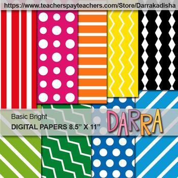 Digital Paper Background Basic Bright Colors - US Letter Size 8.5 x 11 inch