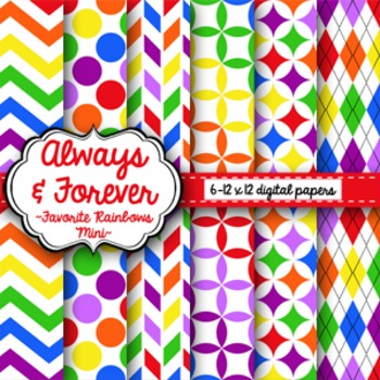 Digital Paper Favorite Rainbows Mini