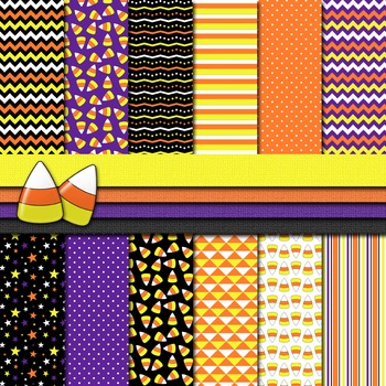 Digital Paper Background Halloween Candy Corn Paper and Clip Art