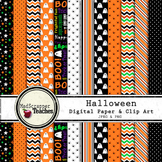 Digital Paper Background Halloween Orange and Black Paper and Clip Art