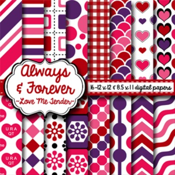 Digital Paper Valentine Love Me Tender