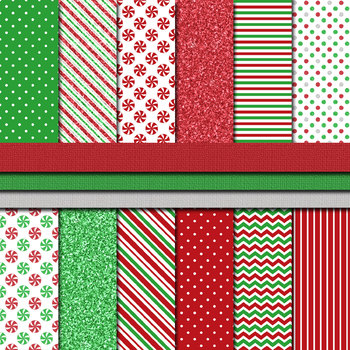 Digital Paper Background Pack Christmas Paper Peppermint Candy