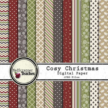 Digital Paper Background Pack Cozy Christmas Paper