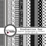 Digital Paper Background Pack Graduation Day Papers Black and White