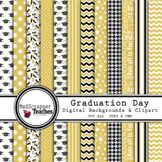 Digital Paper Background Pack Graduation Day Papers Gold