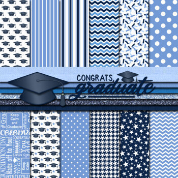 Digital Paper Background Pack Graduation Day Papers Blue