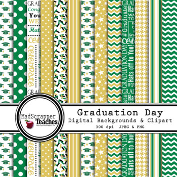 Digital Paper Background Pack Graduation Day Papers Green and Gold