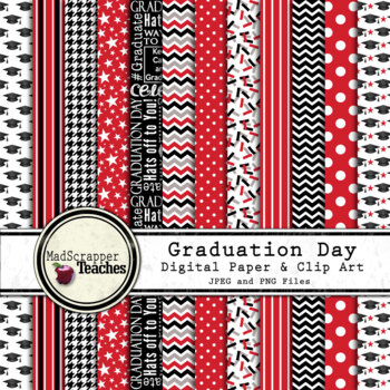 Digital Paper Background Pack Graduation Day Papers Red