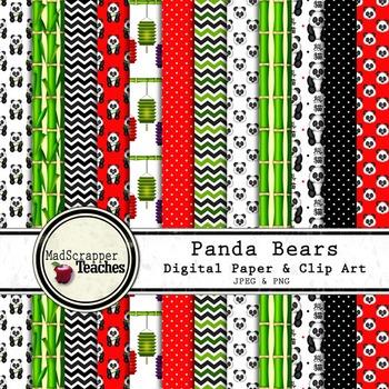 Digital Paper Background Pack Panda Bears Paper and Clip Art