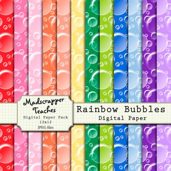 Digital Paper Background Pack Rainbow Bubbles