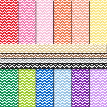 Digital Paper Background Pack Rainbow Colors Chevron Pattern